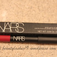 In Love with NARS velvet matte lip pencil in 'Damned'..