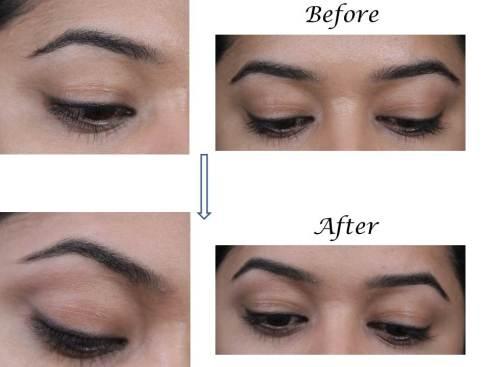 before n after eyebrow threading