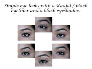 Different eye looks with Kaajal and black eyeshadow